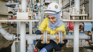 An employee at work in Lynas'  processing plant in Malaysia.