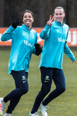 Sam Kerr (left) and Emily van Egmond at Matildas training in Germany
