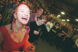Linda Jaivin at the launch of her bestselling novel 'Eat Me' in 1995.