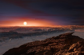 """Artist's impression of the surface of the planet Proxima b orbiting the """"habitable zone"""" of our closest nearby star."""