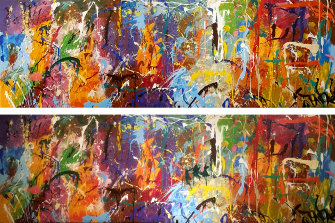 Views of JonOne's Untitled before (top) and after it was vandalized (bottom). The extra brush strokes are hard to spot.