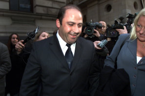 Nicola Gobbo (right) with her client Tony Mokbel after she won bail for him in 2002.