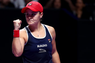 Ashleigh Barty in the season-ending WTA Finals in China last month, where she won two matches after losing the first set.