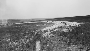 A view of Pear Trench and the slope over which the Australians and Americans advanced on the morning of 4 July 1918, in the battle of Hamel.
