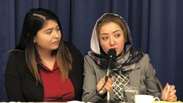 Mihrigul Tursun, right, a member of China's Uighur minority, detailed the torture and abuse she suffered at the hands Chinese authorities at the National Press Club in Washington on Monday.