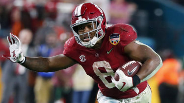 Josh Jacobs in action for Alabama last year.