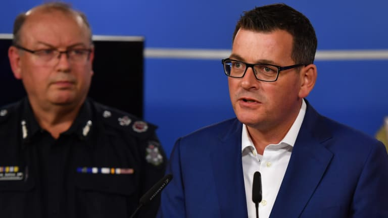 Premier Daniel Andrews with Police Commissioner Graham Ashton.