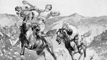 A contemporary depiction of William Lambie and A.G. Hales being shot at by Boers. Lambie became the first Australian journalist to be killed covering a conflict, while Hales became the first Australian journalist to be a prisoner of war.