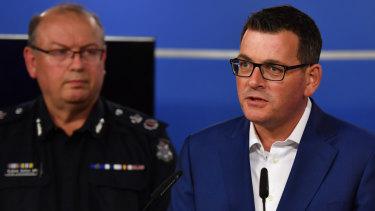 Premier Daniel Andrews with Police Commissioner Graham Ashton.