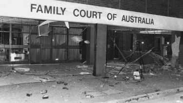 """After the bomb last night... the foyer of the Family Court littered with debris."" April 15, 1984"