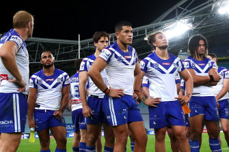The Bulldogs during a match played behind closed doors earlier in the year.