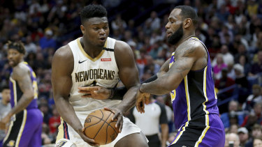 Zion Williamson and LeBron James compete in the Pelicans' clash with the Lakers.