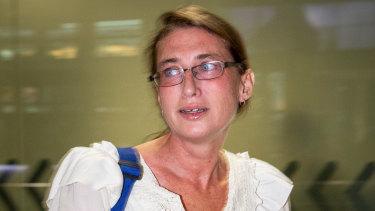 Yoshe Ann Taylor arrives at Brisbane airport on Thursday morning.