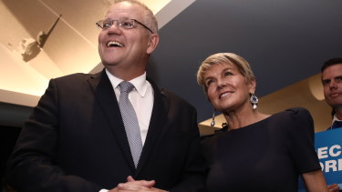 Scott Morrison and former foreign minister Julie Bishop in Perth on Monday.