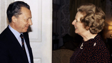 The British PM Margaret Thatcher greets France's Jacques Delors, then president-elect of the European Commission, at 10 Downing Street in 1984. Thatcher's 11-year premiership became increasingly dominated by her opposition to what later became the European Union.