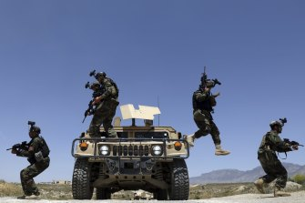 Afghan soldiers patrol outside their military base on the outskirts of Kabul, Afghanistan, last month. By September11 the remaining U.S.and allied NATO forces will leave the country, ending nearly 20 years of military engagement.