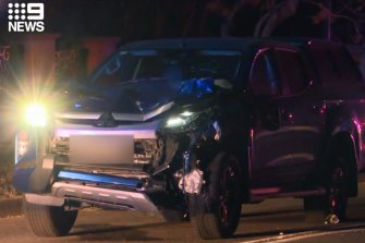 The four-wheel-drive involved in the collision at Oatlands.