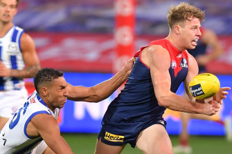 Melbourne's Mitch Hannan is on the Bulldogs' radar.