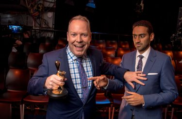 Peter Helliar and 2016 Gold Logie winner Waleed Aly joke around in a promotional photo shoot for the 2017 awards.