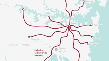 The proposed 284 kilometre Sydney cycle network