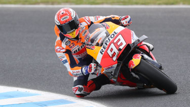 Marc Marquez was fastest in qualifying at Phillip Island.