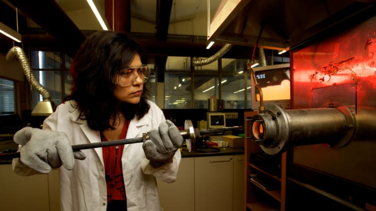 Professor Veena Sahajwalla works at one of the UNSW micro-factories.