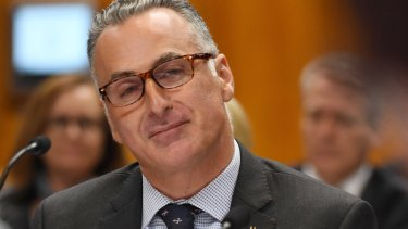 Sports Minister John Sidoti pictured at a budget estimates hearing on Thursday.