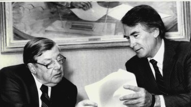 Down to business: Ted Harris (left) during his days as boss of Ampol.