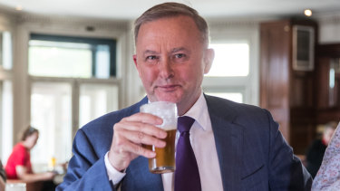Anthony Albanese having a beer after announcing he would take a run at leading the parliamentary Labor Party.