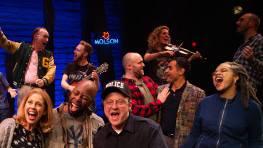 The cast of Come From Away bring to life the poignant encounters between the residents of Gander - including local cop Oz (Simon Maiden, centre) - and their international guests.