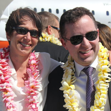 Jayne Hrdlicka with Qantas boss Alan Joyce in 2013.