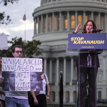 """Rallying against Supreme Court nominee Brett Kavanaugh in 2018. Kamala Harris's Senate questioning of him was called """"nasty"""" by then President Trump."""