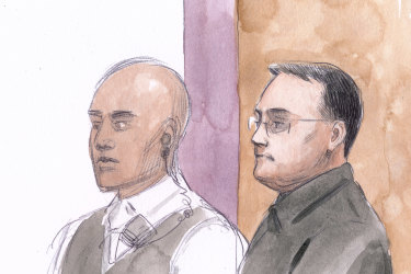 A sketch of Bradley Edwards during the verdict.