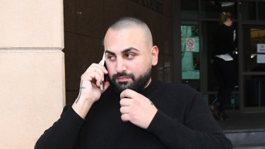 Former Love Machine security guard Joseph Hosri leaves Melbourne Magistrates Court on Monday.