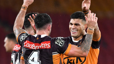 David Fifita (right) of the Broncos celebrates the win over Souths with Darius Boyd at Suncorp Stadium on Friday, March 20.