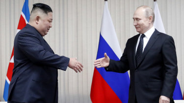 Vladimir Putin sat down for talks on Thursday with Kim Jong-un, saying the summit should help plan joint efforts to resolve a stand-off over Pyongyang's nuclear program.