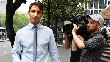 Former Home and Away actor, Keiren Patrick Noonan leaves Downing Centre Court in Sydney on Wednesday.