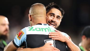 Shaun Johnson celebrates his game-winning field goal against the Panthers on Friday night.