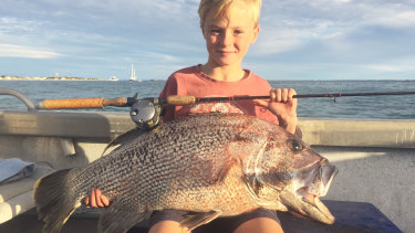 Ryder Pentreath, 9 years old, with a dhufish he caught off Lancelin while fishing with his dad.