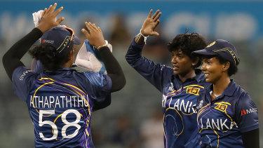 Kavisha Dilhari of Sri Lanka celebrates the wicket of Suzie Bates of New Zealand in Perth.