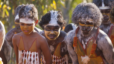 Members of the Gumatj clan perform a ceremonial dance at Garma.