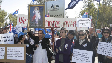 Supporters of George Pell at the High Court in Canberra.