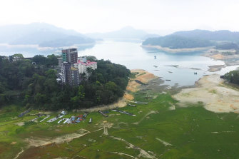 The shrinking water reserves of the Sun Moon Lake.