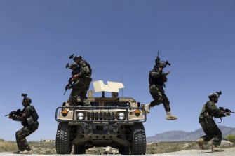 Afghan soldiers patrol outside their base on the outskirts of Kabul last month. By September 11 remaining US and allied forces are due to have left the country, ending nearly 20 years of military engagement.