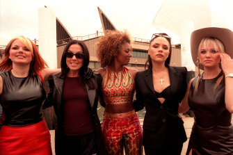The Spice Girls arrive at the Sydney Opera House as part of their tour for Spiceworld.