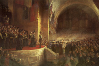 The Tom Roberts painting of the Duke of Cornwall and York (later King George V) opening the first Federal Parliament.