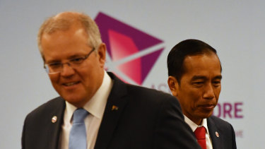 Australia's Prime Minister Scott Morrison and Indonesia's President Joko Widodo at a  meeting during the 2018 ASEAN Summit in Singapore on Wednesday.