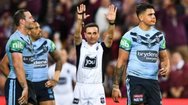 You're off: Latrell Mitchell is sent to the sin bin on Wednesday night.