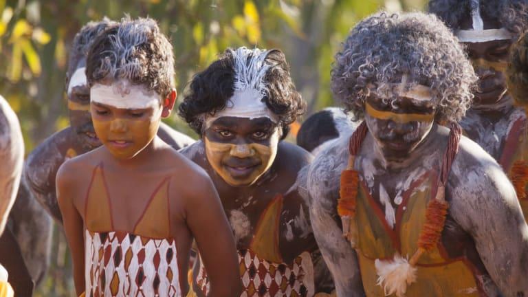 Members of the Gumatj clan perform a ceremonial dance at Garma.