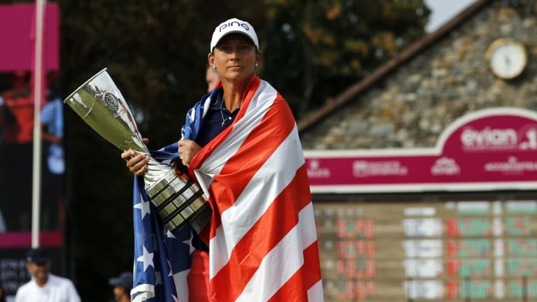 American Angela Stanford celebrates her win in the Evian Championship.